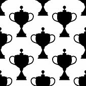Vintage trophy cups seamless pattern