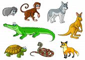 image of jungle snake  - Cartoon forest and jungle animals characters with cute crocodile - JPG