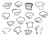 picture of chef cap  - Chef hats icons with white professional uniform caps for kitchen staff in doodle sketch  style - JPG