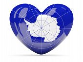 Heart Shaped Icon With Flag Of Antarctica