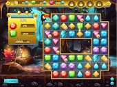 image of treasure  - Example of the user interface and the playing field for a computer game three in a row - JPG
