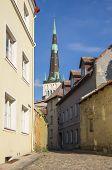 stock photo of olaf  - Saint Olaf church and houses of old Tallinn ESTONIA - JPG
