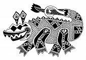 picture of crocodile  - black and white authentic original decorative drawing of crocodile - JPG