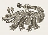 authentic original decorative drawing of crocodile