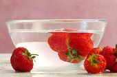 Fresh Strawberries Inside Cold Water