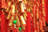 foto of chinese crackers  - chinese red lantern ,words mean best wishes and good luck for the coming chinese new year