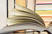 pic of hardcover book  - Composition with hardcover books in the library - JPG
