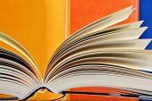 foto of hardcover book  - Composition with hardcover books in the library