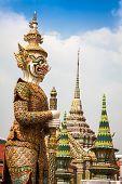 stock photo of budha  - Demon Guardian Wat Phra Kaew Grand Palace Bangkok - JPG