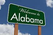 stock photo of alabama  - Welcome to Alabama Road Sign Green highway sign with words Welcome to Alabama with sky background - JPG