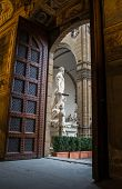 image of foreshortening  - Beautiful foreshortening of Piazza Signoria statue from the main entrance of Palazzo Vecchio in Florence - JPG