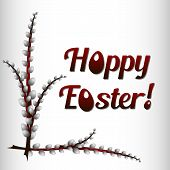 foto of risen  - Greeting card for Easter with branches of willow - JPG