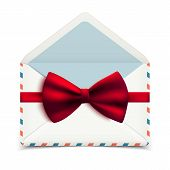Realistic Vector Envelope With Decorative Red Bow