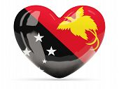 picture of papua new guinea  - Heart shaped icon with flag of papua new guinea isolated on white - JPG
