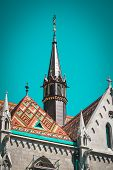 Old building of European church, Hungary. Budapest.