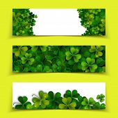 stock photo of saint patrick  - Saint Patricks Day vector banners with realistic shamrock leaves - JPG