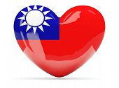 Heart Shaped Icon With Flag Of Republic Of China
