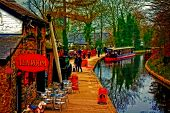 image of barge  - A digitally converted painting of a canal barge in Llangollen North Wales - JPG