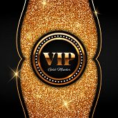 Gold Vip Vector Illustration On Shiny Glitter Background