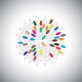 Vector Icon Large Flower With Colorful Petals - Concept Graphic