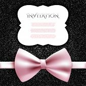 Invitation Decorative Card Template With Bow And Shiny Glitter