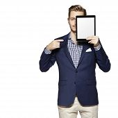 Man Pointing At Digital Tablet