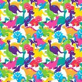 Dinosaur Seamless Tileable Vector Background Pattern