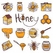 picture of honey bee hive  - Honey hand drawn decorative icons set with beehive wax cell flying bee isolated vector illustration - JPG