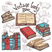picture of decorative  - Retro sketch books decorative icons set library concept vector illustration - JPG