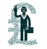 Businessman showing victory sign on a background of pounds sterling signs.