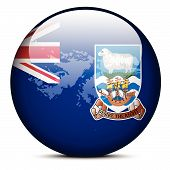 Map On Flag Button Of Falkland Islands (islas Malvinas)