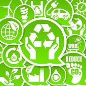 stock photo of carbon-footprint  - Eco friendly background calls for environment protection - JPG