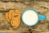 Cup Of Milk With Cookies For Healthy Breakfast