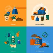 stock photo of garbage bin  - Garbage design concept set with cleaning collect and recycling plant flat icons isolated vector illustration - JPG
