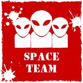 stock photo of alien  - Vector alien space team logo on red background - JPG