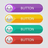 Vector flat buttons with support icon