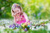 Little Girl At Egg Hunt