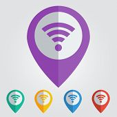 Vector flat pin with wi-fi icon