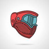 stock photo of protective eyewear  - Flat color vector icon with black contour for red paintball protective mask a side view on white background - JPG
