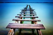 image of timber  - Old timber jetty in Cleveland outside of Brisbane Australia - JPG