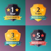 Warranty Signs Set In Halftone Texture Style