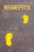 Yellow Footsteps On Sidewalk Towards Goals Message
