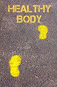 Yellow Footsteps On Sidewalk Towards Healthy Body Message