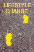 Yellow Footsteps On Sidewalk Towards Lifestyle Change Message