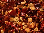 Dried Red Chili Flake Food Background