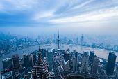 Magic City Of Shanghai At Dusk