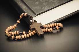 picture of christianity  - Christian cross necklace on Holy Bible book Jesus religion concept as good friday or easter festival - JPG