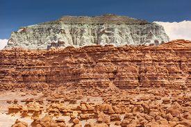 foto of hoodoo  - Blue Moutain Mushroom Shaped Hoodoos Goblin Valley State Park Rock Canyon San Rafael Desert Utah USA Southwest - JPG