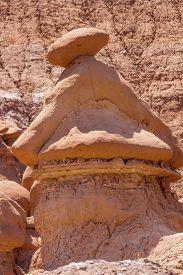 foto of goblin  - Mushroom Shaped Hoodoo Goblin with Hat Goblin Valley State Park Rock Canyon San Rafael Desert Utah USA Southwest - JPG