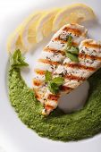 picture of mint-green  - Grilled chicken fillet and mashed green peas and mint close - JPG